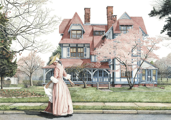 Springtime Stroll Open Edition Print Reproduced from a watercolor painting by Santoleri