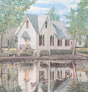 Lake Afton Library offset print by James Redding