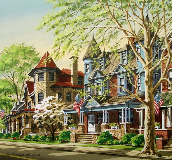 Mansions on Main Street Giclee by William Ressler